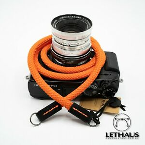 LETHAUS - ROPE CAMERA STRAP WITH LEATHER CONNECTOR - JUNE - (ORANGE / BLACK)