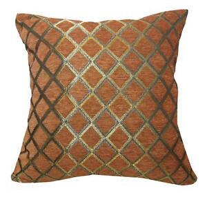 Wd39Ba Reddish Brown Damask Chenille Check Throw Cushion Cover/Pillow Case *Siz