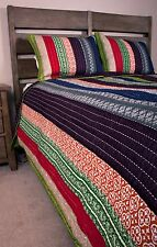 Queen Quilt Set Bohemain Global Chic Striped Purple Kantha Quilting Cotton