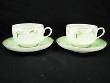 PAIR OF GENUINE LALIQUE LIMOGES ORCHIDEES OVERSIZED CUP & SAUCER NEW OLD STOCK!!