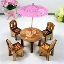 Wooden Doll House Furniture Desk/Chairs/Umbrella Dollhouse Miniature Kid Toy Set