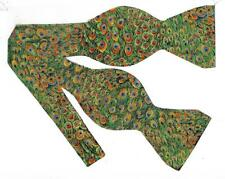 (1) Green Peacock Feathers Self-tie Bow tie - Green feathers with Metallic Gold