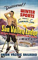 Ketchum Idaho 1936 Union Pacific Railroad Vintage Poster Print Retro Travel Ad
