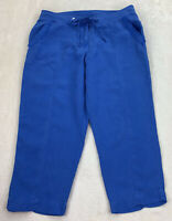 Tommy Bahama Two Palms Linen Cropped Pants Cobalt Seal Blue Drawstring Size 10