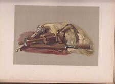 VG 1893 Antique Chromolithograph Art Print Abbotsford Sir Walter Scott Knife