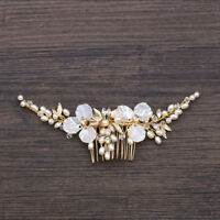 Luxury Bridal Wedding Crystal Pearl Flower Prom Party Headdress Hair Comb Clip