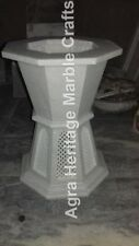 "18""x15"" Modern Marble White Filigree Design Side Table Stand Center Decor E570"