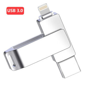 1TB 128GB USB 3.0 Flash Drive Memory Stick Pen Rotate Disk For iPhone iOS PC Mac