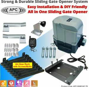 Heavy Duty Automatic Electric Sliding Gate Opener Auto Motor Remote Kit
