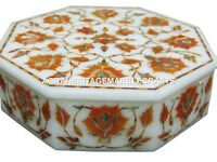 Marble Decorative Jewelry Box Trinket Hakik Handmade Pietra Dura Home Arts H1877