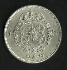 Suède : 1 Krona Argent 1943 ; Qualité
