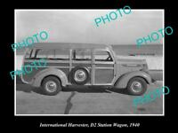 OLD HISTORIC PHOTO OF INTERNATIONAL HARVESTER D2 STATION WAGON AT BEACH c1940