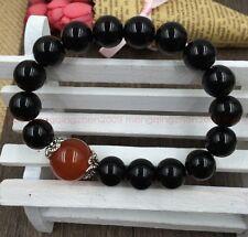 Original handmade natural obsidian 10mm bead Natural red agate bracelet