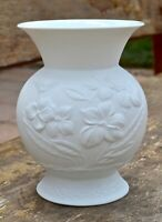 Vintage Kaiser Germany Bisque Porcelain Floral Short Round Vase by M. Frey