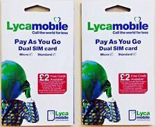 2 x BRAND NEW LYCA MOBILE PAYG Trio SIM CARD Standard/Micro/Nano (Cheap Calls)