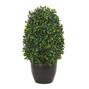 "13"" Boxwood Topiary Artificial Plant UV Resistant Nearly Natural Home Decoration"