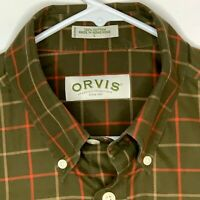 Orvis Mens Outdoor Shirt LS Green Checked Large