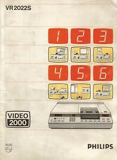 PHILIPS VIDEO 2000 VR2022S Istruzioni Videoregistratore 1980 VINTAGE VCR MANUAL