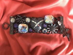 Betsey Johnson Violet Lavender Purple Crystal AB Cross My Heart Bow Bracelet