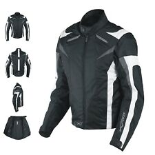 Ladies Textile Jacket sport Racing CE Armour Thermal Vents Motorcycle White XL