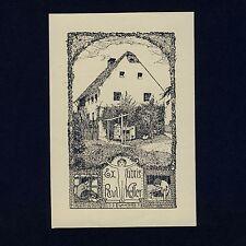 Exlibris Bookplate * WILLIBALD KRAIN * Haus Garten Akt Jugendstil Garden House