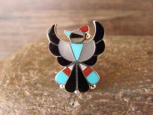 Zuni Indian Thunderbird Inlay Ring by Wallace - Size 5.5