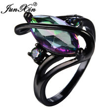 Mystic Rainbow Marquise Cut Topaz S Wedding Ring Black Gold For Women Size 4-12