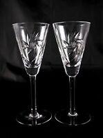 Pair Rare Stunning Bohemian Pinwheel Crystal Champagne Flutes Prosecco Glasses
