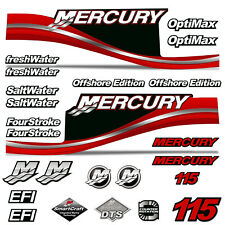 Mercury 115 Four 4 Stroke Decal Kit Outboard Engine Graphic Motor Stickers RED