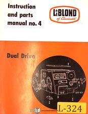 Leblond 4 Dual Drive Engine Lathe Operations And Maintenance Manual Year 1956