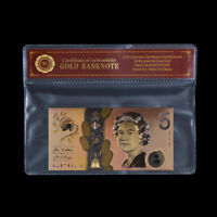 WR Australia $5 Coloured Gold Banknote 2016 Polymer Bank Note Limited Gift +COA