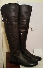 DIOR BLACK LEATHER OVER THE KNEE BOOTS W/ BURNISHED SILVER DETAIL SIZE 8 M EU 38