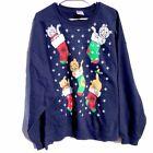 Ugly Christmas Sweater kitten cat stockings navy unisex womens size 2XL