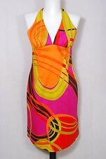 TRINA TURK multi color psychedelic geometric print cotton halter dress sz 6 mint