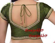 Indian Sari Blouse,Readymade Saree Blouse,Designer OliveGreen Kundan work Blouse