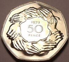 Scarce Proof Great Britain 1973 50 Cents~Britains Entry Into EEC~Awesome~Fr/Ship