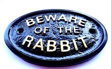 BEWARE OF THE RABBIT - HOUSE DOOR PLAQUE WALL SIGN GARDEN - BRAND NEW (BLACK)