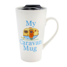 NEW My Caravan Campervan Ceramice Travel Mug With Non Spill Lid Perfect Gift Blu