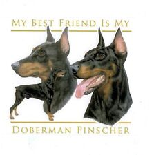 "DOBERMAN (Cropped) ""Best Friend"" Fabric Quilt Set -12 identical 6 inch squares"