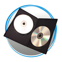 100 Black 7mm Slim Double CD DVD Movie Case Storage Box