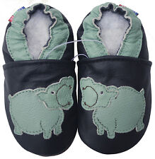 carozoo soft sole leather toddler baby shoes hippo black 2-3y
