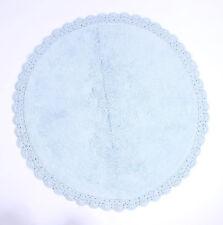 Badezimmermatte rund Teppich hellblau Häkelspitze Bad 73cm rug Matte Badteppich