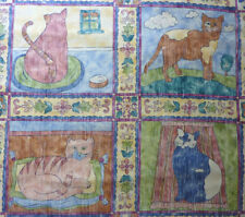 Cat Print panel 4 cats Square Patchwork Quilting Cushion bedding fabric 60X60cm