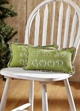 "Up To No Good Christmas Pillow Set/2 Green Cotton Burlap w/ Plaid Ruffle 7""x13"""