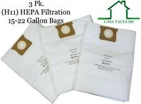 CASA VACUUMS Replacement for Shop-Vac 15-22 Gallon HEPA Bags 9067300 J 9066300 G
