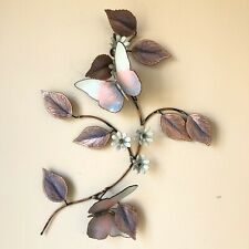 Enamel on Copper Flowers Butterflies Wall Art Pastel Pink Purple MCM Vintage