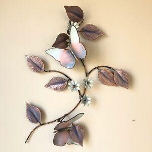 Enamel on Copper Flowers Butterflies Wall Art Pastel Pink Purple MCM Vintage
