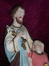 ANCIENNE STATUE RELIGIEUSE/SAINT JOSEPH ET ENFANT JESUS/PLATRE/H.46,5 cm/ N°10