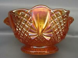 Sowerby PINEAPPLE Marigold Foreign Carnival Glass Ruffled Open Sugar 7436