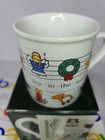 """1984 Hallmark Coffee Mug """"Joy to the World"""" """"Rejoice"""" Christmas Mug New Vintage"""